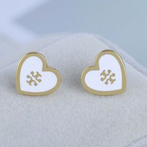 Tory Burch Earrings White Gold Heart Studs New